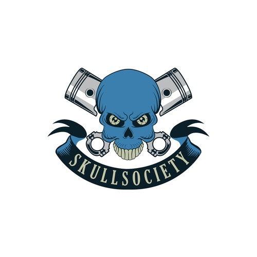 Society logo with the title 'Logo for SkullSociety - a new brand of biker t-shirts.'