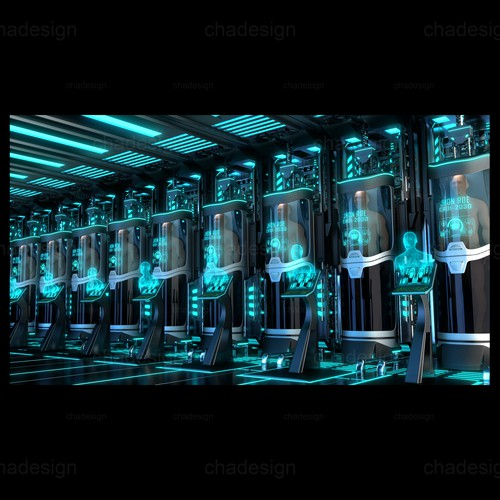 3D illustration with the title 'SciFi Cryo Chamber and Pods'