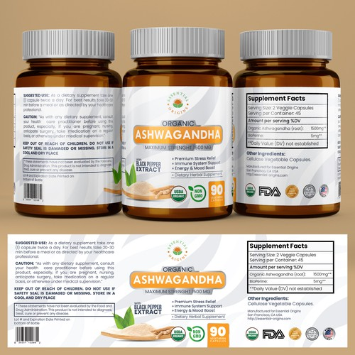 Vitamin label with the title 'Best Label for a Bottle of Herbal Supplement'