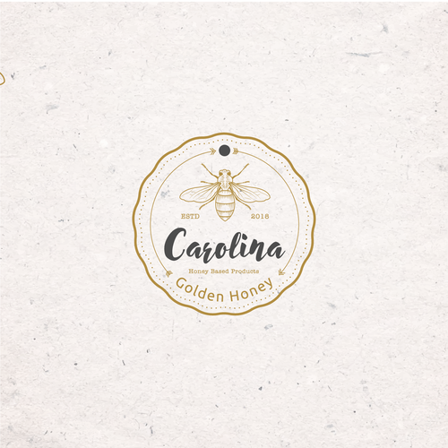 Honey bee logo with the title 'New Hip Logo For Carolina Golden Honey'