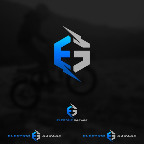 Thunderbolt design with the title 'Letter E and G logo (for sale)'