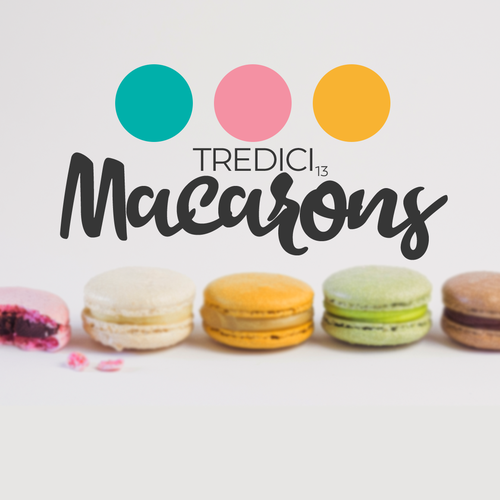Macaron design with the title 'TREDICI 13 Macarons Logo '