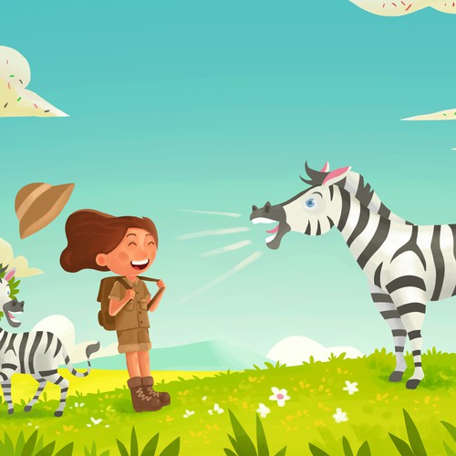Whimsical artwork with the title 'Zebra bray '