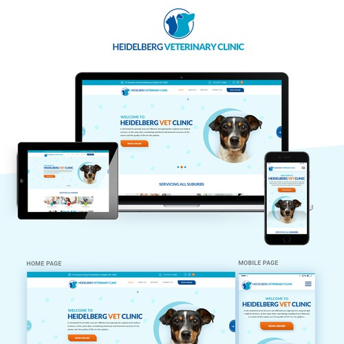 Dog website with the title 'Vet clinic - new website!!'