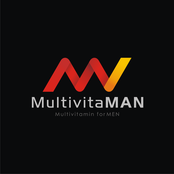 Orange and yellow logo with the title 'MULTIVITAMAN LOGO'