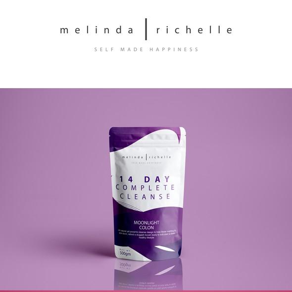Beverage label with the title 'Melinda Richelle _ Tea detox'