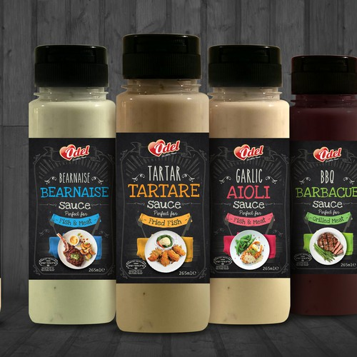 Sauce design with the title 'Odel Sauce Range Label'