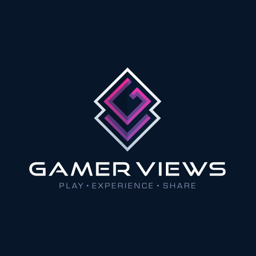 Review design with the title 'GAMER VIEWS - Logo Design & Hosted Website'