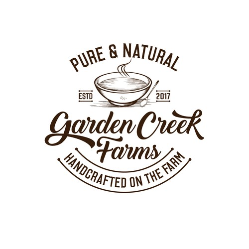 Organic food logo with the title 'Garden Creek Farms'