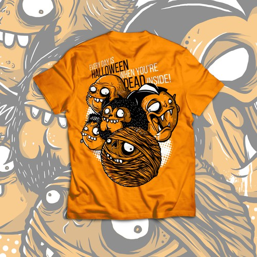 Monster t-shirt with the title 'Halloween Monsters Orange Teeshirt Mockup'