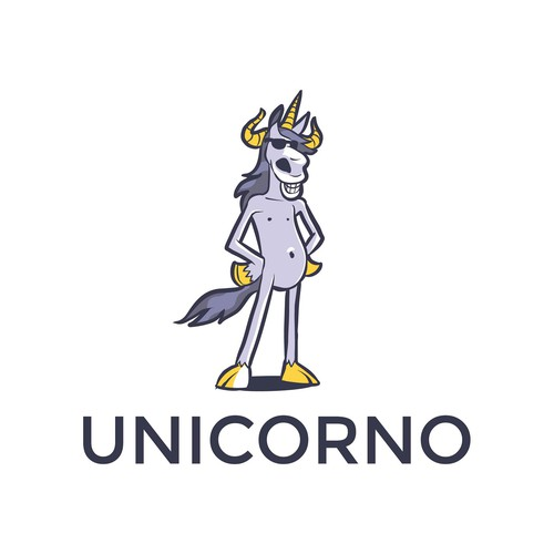 Unicorn logo with the title 'characters logo Unicorno'