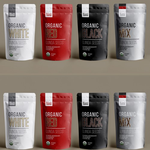 Pouch design with the title 'minimalistic quinoa seeds packaging'