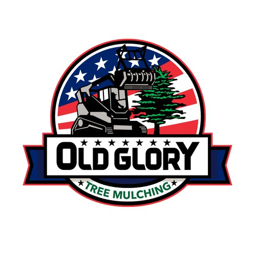 American flag logo with the title 'Old Glory Tree Mulching'