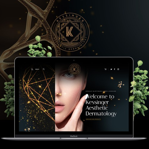Metallic design with the title 'Upscale Aesthetic Dermatology New Site for Kessinger Aesthetic Dermatology'