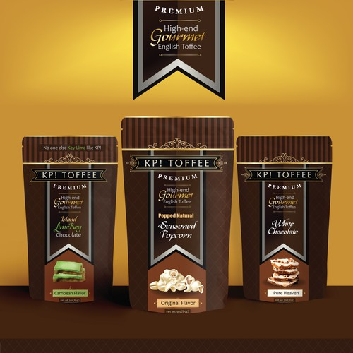 Dark chocolate packaging with the title 'KP! TOFFEE Stand Up Pouches'