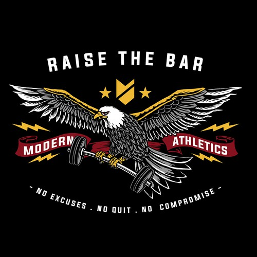 Barbell t-shirt with the title 'Rise the bar'