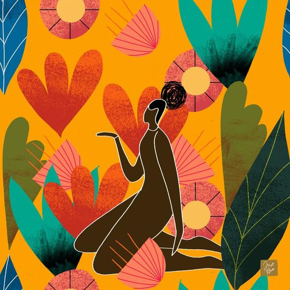 Textile artwork with the title 'Fashion-Foward, Soulful Kimono Prints'