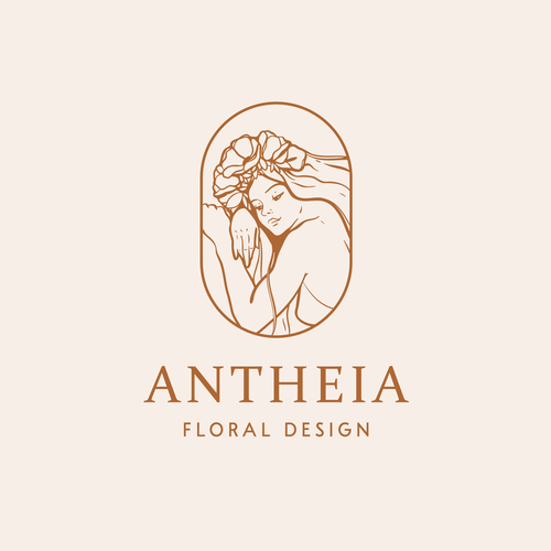Goddess logo with the title 'Feminine flower goddess logo design'