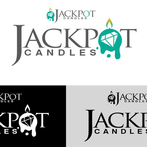 Candle design with the title 'Create an Elegant yet Captivating logo for Jackpot Candles'