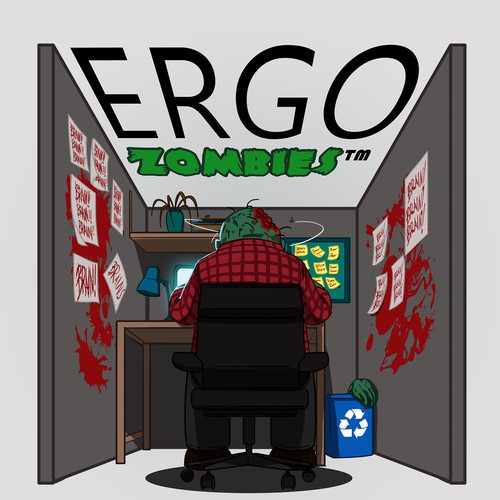 Zombie artwork with the title 'ERGO ZOMBIE  illustration'
