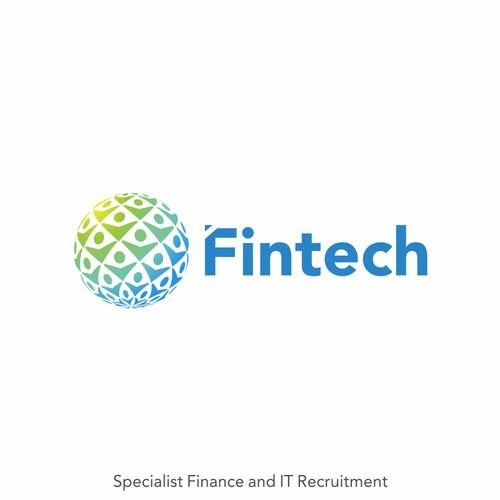 Fintech logo with the title 'Logo concept for Fintech'