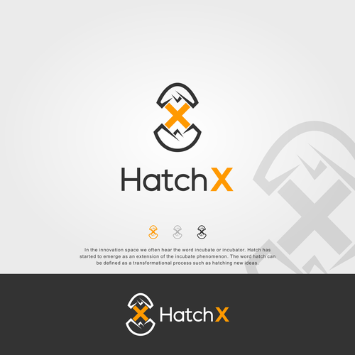 Hatch logo with the title 'Eggs hatch logo for HatchX'