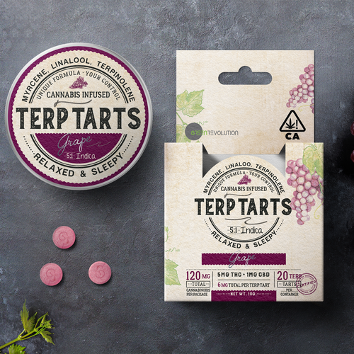 Cannabis packaging with the title 'Terp Tarts, packaging design'