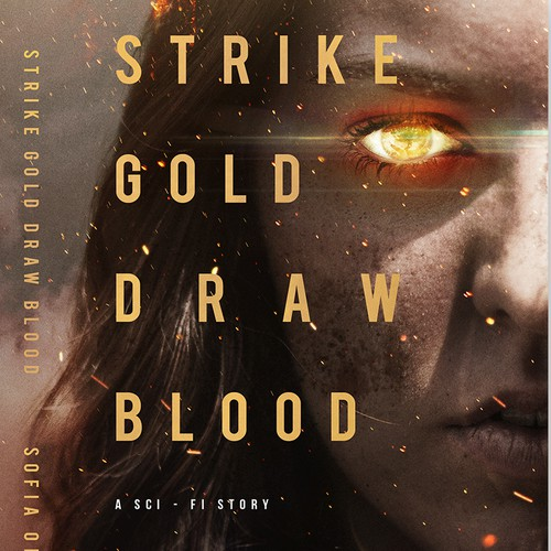 Golden design with the title 'Sci-fi / Superpowers / dystopia for young adults.'