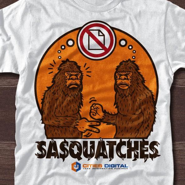 Sasquatch design with the title 'Big Foot Rock, Paper & Scissors'