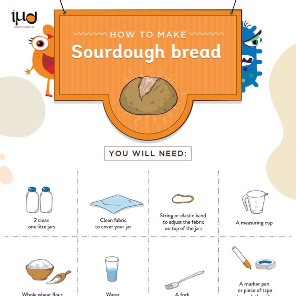 Bacteria design with the title 'How to make Sourdough Bread'