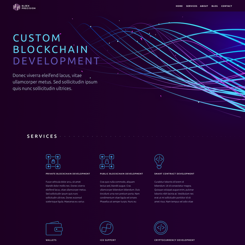 Software website with the title 'Landing page for software development agency that specializes in building custom applications using Blockchain Technology'