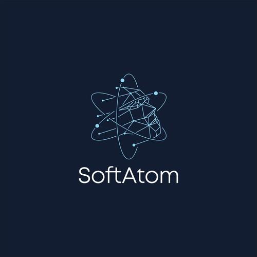 Futuristic logo with the title 'Logo concept for SoftAtom'