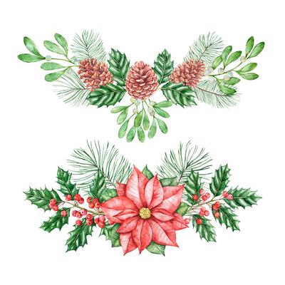 Botanical hand drawn design. Hand-drawn floral watercolor illustration (Christmas theme) for Christmas cards, Christmas gift wrap,etc