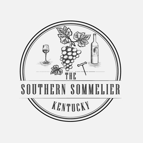 Corkscrew design with the title 'Logo for Sommeliers'