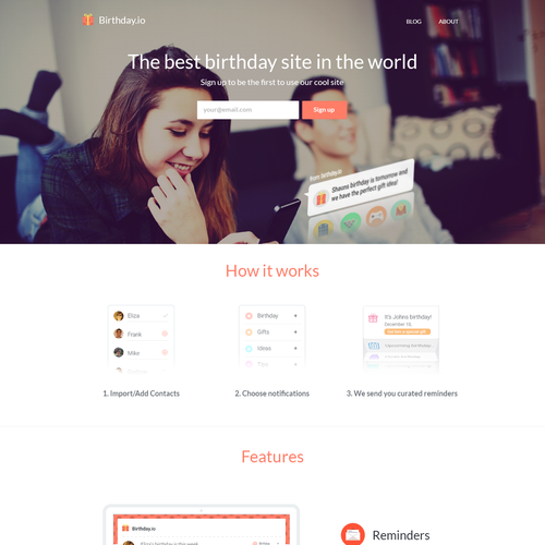 Birthday design with the title 'Remember Birthdays! birthdays.io'