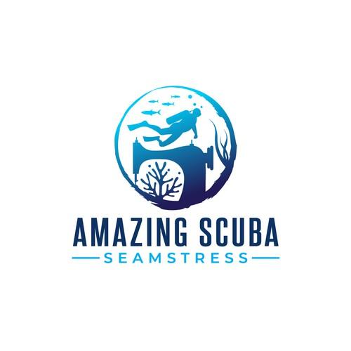 Aquatic design with the title 'Scuba diving logo'