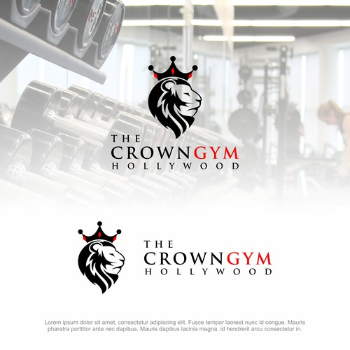 Lion King design with the title 'The Crown Gym Hollywood'