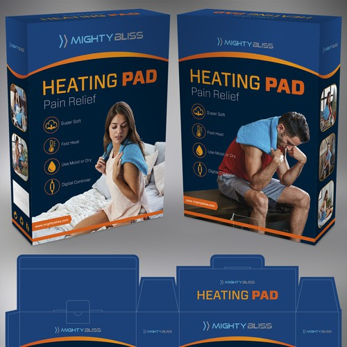 Fitness packaging with the title 'Mighty Bliss Heating Pad package design'