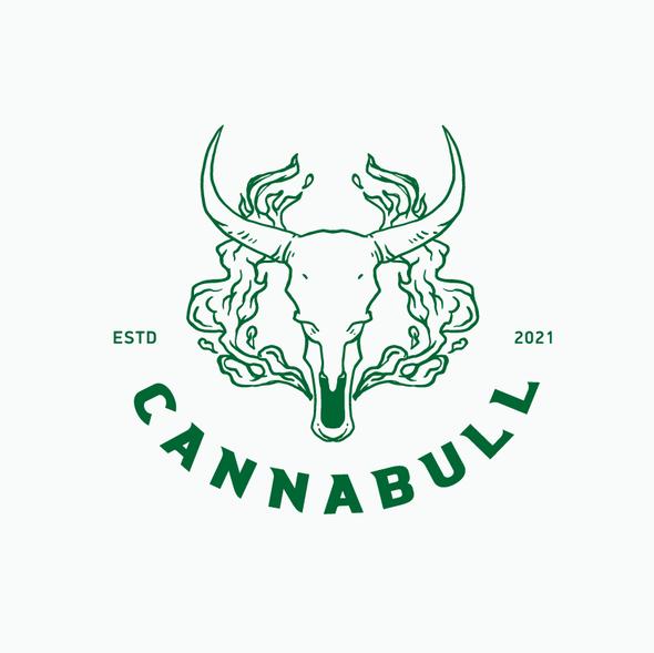 Buffalo design with the title 'cannabull logo vape'