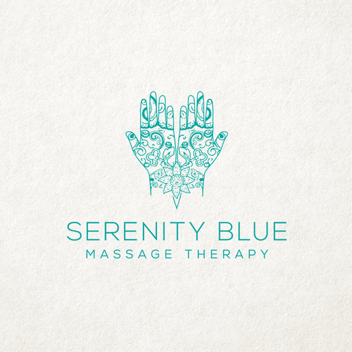Massage logo with the title 'Serenity Blue'
