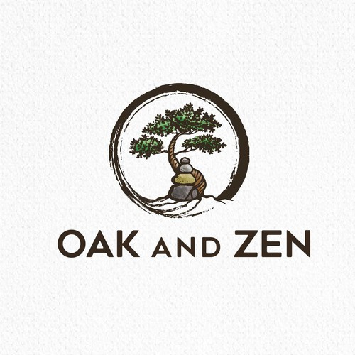 Oak tree logo with the title 'Oak and Zen'