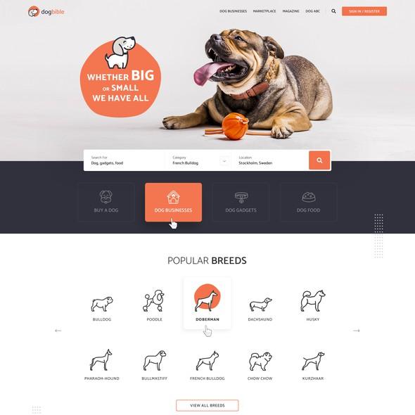 Pet website with the title 'Webdesign for online dog platform / marketplace / magazine'