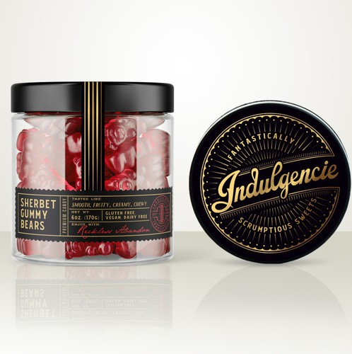 Gold label with the title 'Indulgencie logo and labels design'