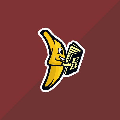Bookmark logo with the title 'Banana with the book logo for client '