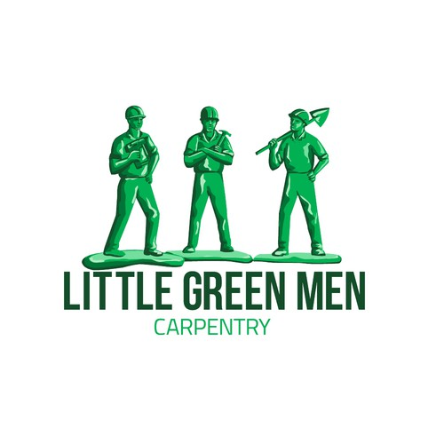 Builder logo with the title 'Little Green Men Carpentry'