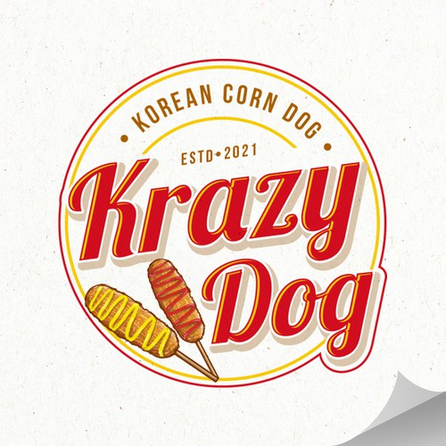 Hot dog design with the title 'Krazy Dog'