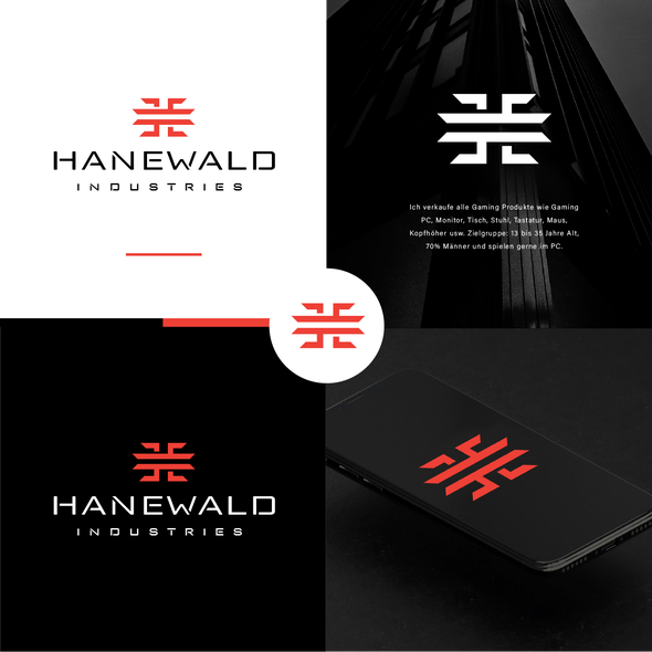 Laptop logo with the title 'Hanewald'