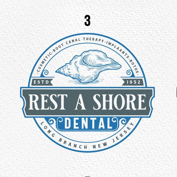 Seashell logo with the title 'Restashore Dental'