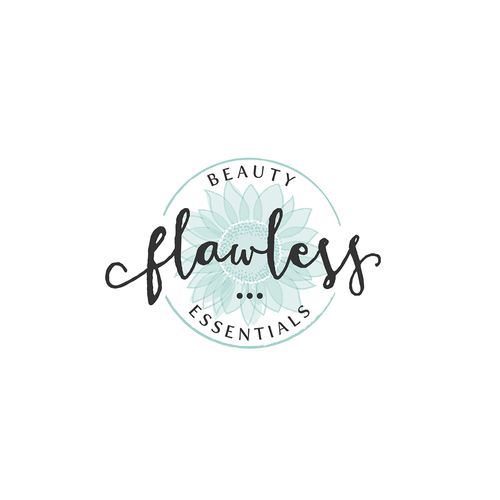 Sunflower design with the title 'Flawless Beauty Essentials'