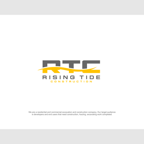 Backhoe logo with the title 'Rising Tide Construction'